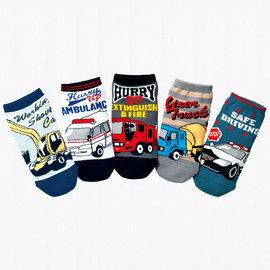 ^~^~阿布 ^~^~~AQ181~ ^~男童卡通汽車直板襪 短襪 平版襪 襪子^(5雙一