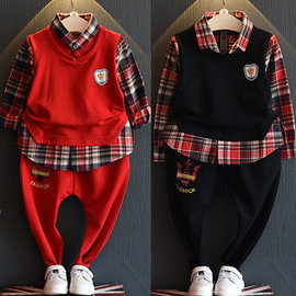 紅色13碼 I BABY  女童 男童 兒童 學院風 休閒假兩件 長袖T恤 長褲 兩件套