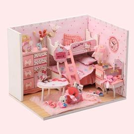 diy小屋動漫拼裝模型我的小伙伴kitty公主房兒童節生日 街