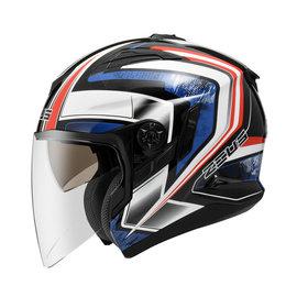 ~ZEUS 瑞獅 ZS 613B AJ6 珍珠黑藍 3 4罩 安全帽 ~內襯全可拆洗、免