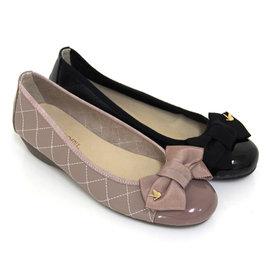 緞面蝴蝶結金屬裝飾菱格紋全真皮小坡跟娃娃鞋