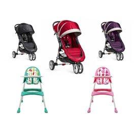 【紫貝殼】『GB01+DE02-2』Baby jogger city mini 單人推車 (黑/紅/紫)+英國 unilove 兒童餐椅(隨機) 【公司貨】