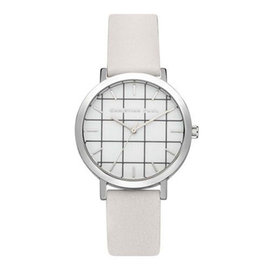 ▼ 85折▼Christian Paul 格紋銀色系列 白錶盤 白色皮革錶帶手錶35mm