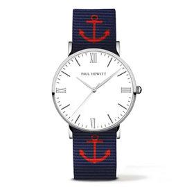 PAUL HEWITT Silver Line 深藍紅船錨尼龍錶帶 銀色錶框 38mm