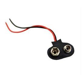 T型 9V 軟皮鐵帽 電池盒/電池扣子 (軟殼帶引線- 15cm)