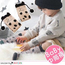 韓版女童卡通鼴鼠毛球立體尾巴中筒襪 寶寶襪【HH婦幼館】