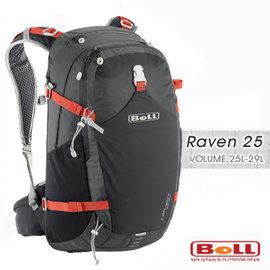 【捷克 BOLL】新款 RAVEN 25 專業輕量健行登山背包(附防雨套/登山杖扣/可調人體工學肩帶).自助旅行.出國打工旅遊 非Deuter_黑紅 1293030