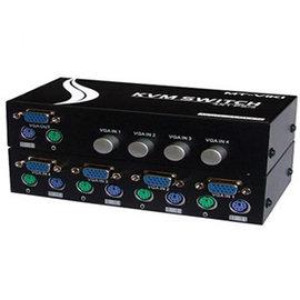 新竹市 (switch) 手動KVM  VGA PS2 螢幕/鍵盤/滑鼠 1切4 port 四進一出 切換器/分配器