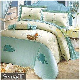 YvH Smart 製 609A 鯨魚 雙人鋪棉床罩組 五件式 100^%純棉 全組同圖