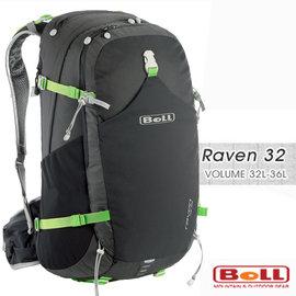 【捷克 BOLL】新款 RAVEN 32 專業輕量健行登山背包(附防雨套/登山杖扣/人體工學肩帶).自助旅行.出國打工旅遊 非Deuter_黑/綠 1303085