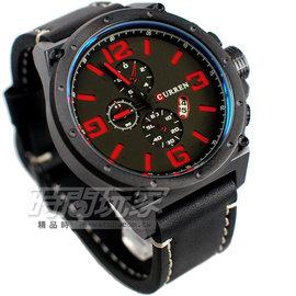 CURREN 三眼 潮流 日期顯示 皮革腕錶 男錶 黑x紅 CU8230紅黑