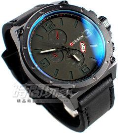 CURREN 三眼 潮流 日期顯示 皮革腕錶 男錶 黑 CU8230黑