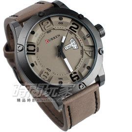 CURREN 潮流 星期日期顯示 皮革腕錶 男錶 黑x卡其色 CU8251卡