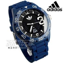 adidas 愛迪達 美式原創大錶徑腕錶 黑x藍 指針錶 日期視窗 ADH3141