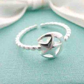 ~~芙娜~~ 可愛星月 ~螺旋線條開口式純銀戒指 ~925純銀~