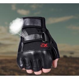 男機車半指手套男健身皮質手套半截皮戶外 防滑防護手套~潮衣部落格~