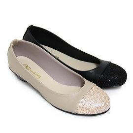 優雅金蔥圓頭低粗跟包鞋