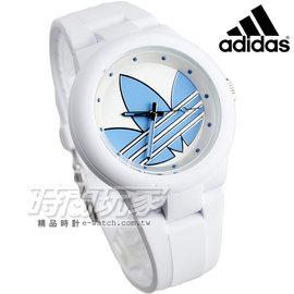 adidas 愛迪達 翻轉世界三葉LOGO休閒腕錶 藍x白 指針錶 ADH3142