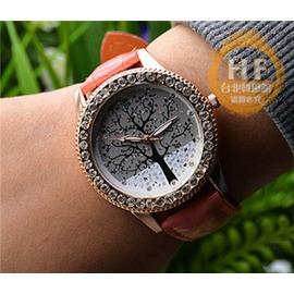 手錶生命之樹腕錶 鑲鑽女錶韓國潮流水鑽復古圖案氣質女學生石英錶~潮衣部落格~