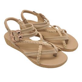 Unisysh 氣質編織X型涼鞋^(米^)