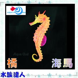 【水族達人】【造景裝飾】水世界AQUA WORLD《sea horse  螢光海馬 橘色 G-079-O》裝飾