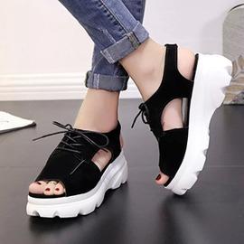 涼鞋  鬆糕底搖搖鞋魚嘴涼鞋休閒厚底學院內增高涼鞋