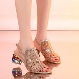 春夏新品 彩鉆真皮魚嘴鞋粗跟女鞋網紗女涼鞋中跟