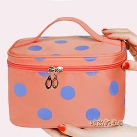 韓國 手提可愛波點化妝包大容量防水折疊收納包化妝袋化妝箱