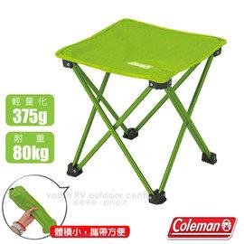 【美國 Coleman】超輕量鋁合金迷你折疊椅(僅375g)立方野營椅/兒童椅.折合椅.烤肉.釣魚.露營/耐重80Kg_萊姆綠 CM-21984