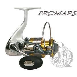 ◎百有釣具◎OKUMA寶熊  PROMARS達人 紡車式捲線器 規格:PMS-4000 線輪、主體、搖臂採用ALC高強度鋁合金,強度及耐用度直逼大物機種等級