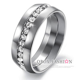 ~ QBOX ~FASHION 飾品~W2016N361~精緻 簡約招財環鑽316L鈦鋼戒
