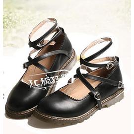 娃娃鞋春夏女日系軟妹洛麗塔lolita綁帶鞋子平底娃娃鞋圓頭學生公主單鞋~型男部落~