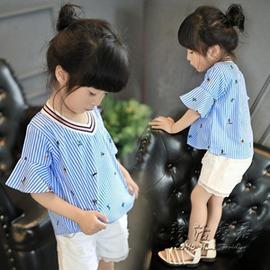 女童荷葉袖藍白條紋上衣 短袖兒童T恤寶寶寬鬆娃娃衫~型男部落~