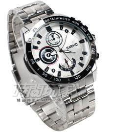 BARIHO 三眼  腕錶 男錶 白色 BA442白