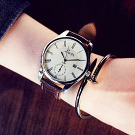 大表盤韓國中性潮流女表 皮帶男表學生情侶超薄防水石英手錶