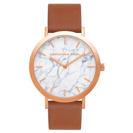 Christian Paul 大理石玫瑰金系列 白錶盤 粉桃色皮革錶帶手錶43mm