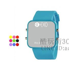 行星飯EXO LED電子錶男錶夜光情侶錶果凍女錶韓國潮流學生手錶~型男部落~