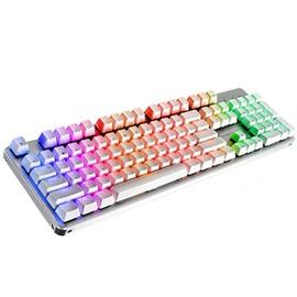 腹靈gt104鎧甲機械鍵盤104鍵無沖有線RGB背光電腦遊戲鍵盤青 黑軸~型男部落~