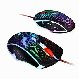 雷技幽冥玄蛇七彩發光滑鼠USB遊戲滑鼠筆記本有線滑鼠~型男部落~