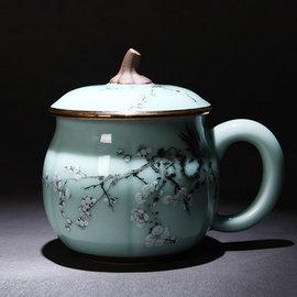 5Cgo ~ 七天交貨~526465206111 黃金彩繪龍泉青瓷口杯水杯茶杯南瓜杯茶杯茶