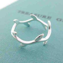 ~~芙娜~~ 波浪曲線葉形 ~925純銀戒指 ~925純銀~買就送純銀扣頭矽膠皮繩