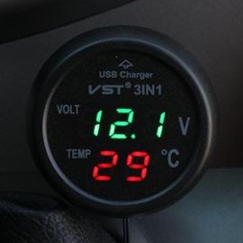 充電打火機三合一車載溫度計汽車電壓監測儀電壓錶車用USB手機充 ~型男部落~