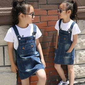 I BABY  女童 兒童 中大童 牛仔 背帶裙 吊帶裙 親子裝~QA1143~寶寶款