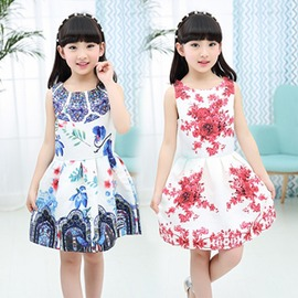 公主裙女童 夏裝吊帶裙碎花中大童兒童裙子純棉連身裙