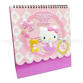2017桌曆 HELLO KITTY 三角立體桌曆 月曆 年曆 有農曆  國定假日 文具