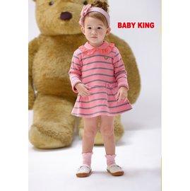 baby king  6263 粉灰條長版衣 85CM^~130CM 製