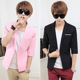 粉紅色小西裝男七分袖白色 中袖外套商務 百搭半袖西服