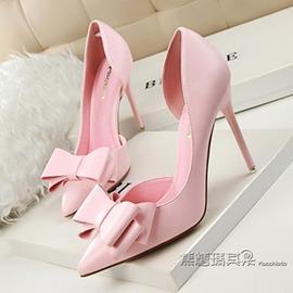高跟單鞋女粉色春夏細跟漆皮尖頭側空大紅色白色蝴蝶結甜美系婚鞋