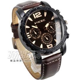 VIKEC 仿三眼復古潮流石英腕錶 男錶 玫瑰金電鍍x咖啡色 皮革錶帶 V553咖