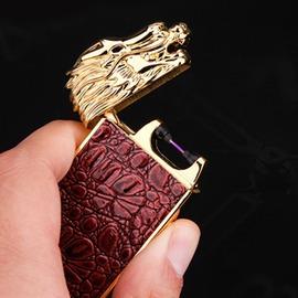 龍頭電弧usb充電打火機貼豹紋皮點煙器 男士朋友生日